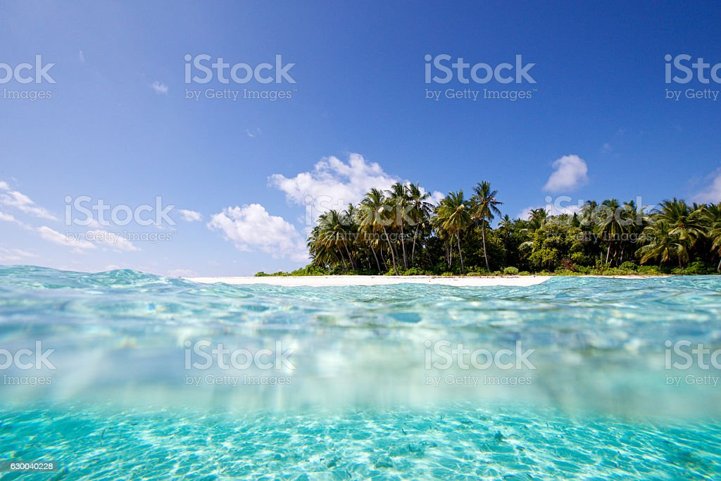 Split view of a deserted island stock photo