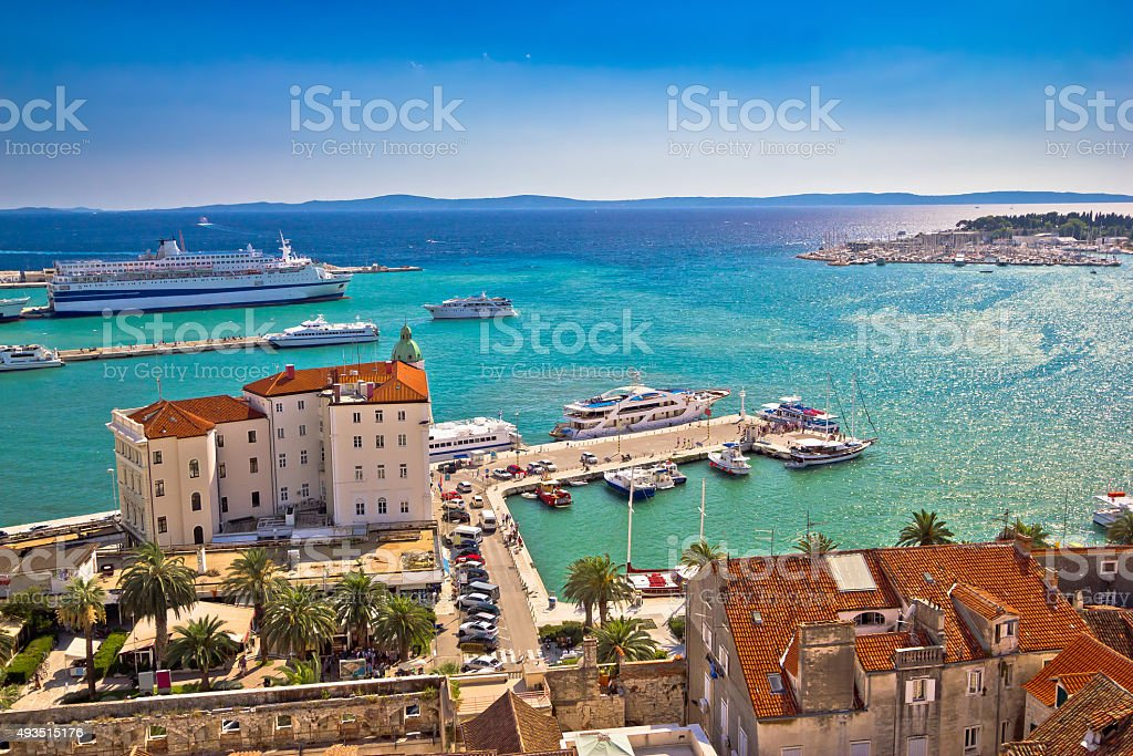 Split waterfront and harboar aerial view stock photo