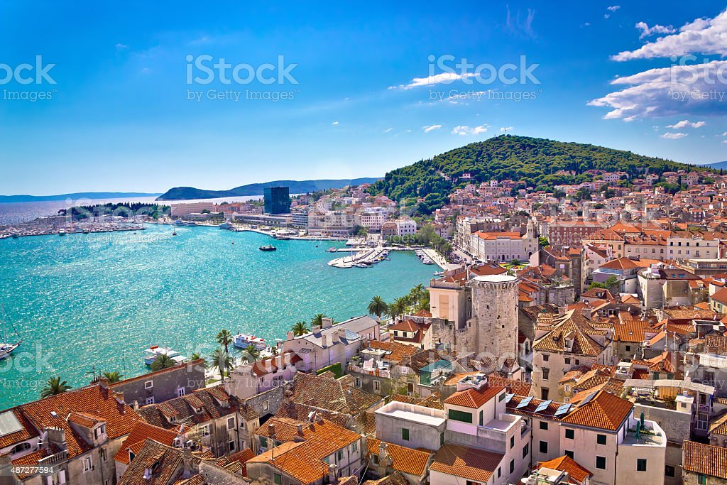 Split waterfront and Marjan hill view stock photo