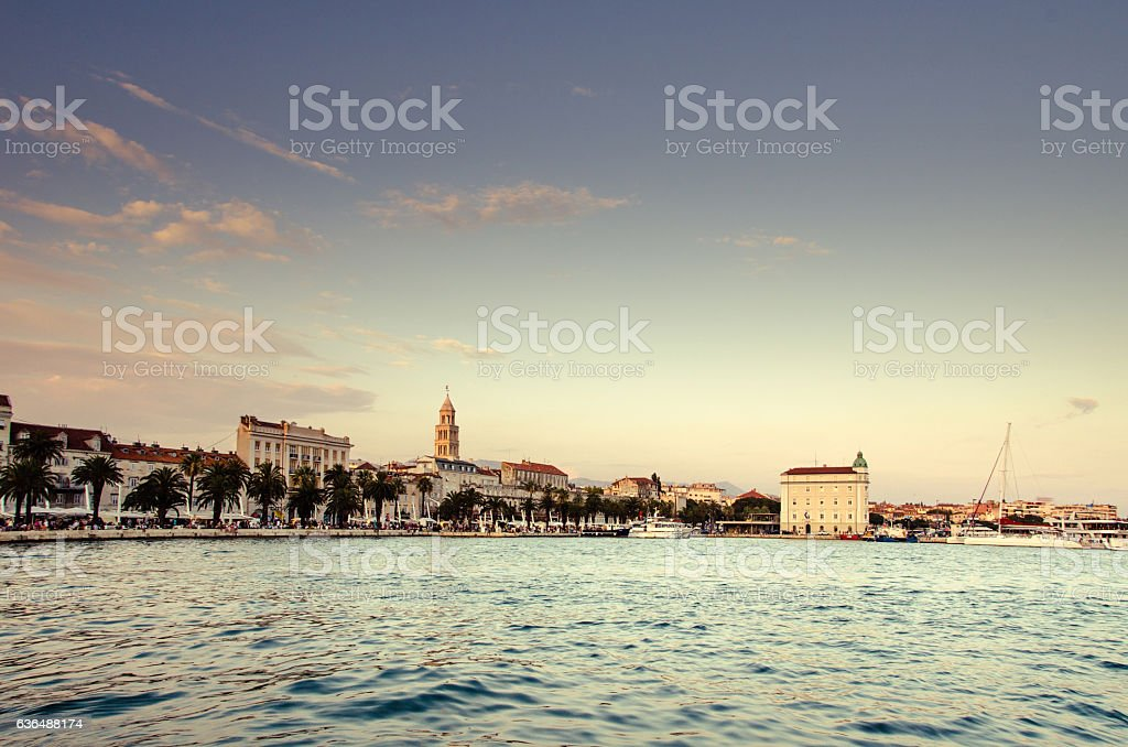 Split waterfront evening blue panorama. stock photo