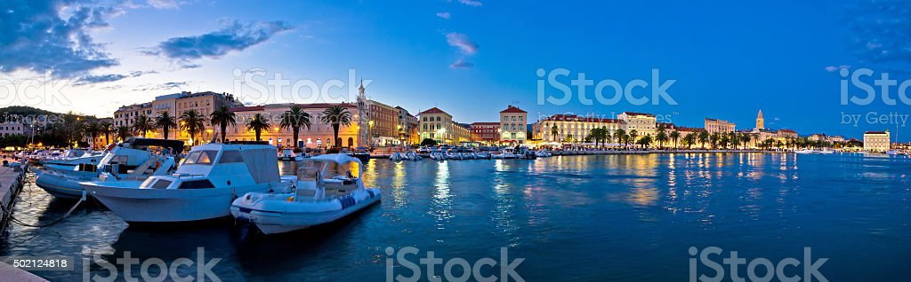 Split waterfront panorama in blue hour stock photo