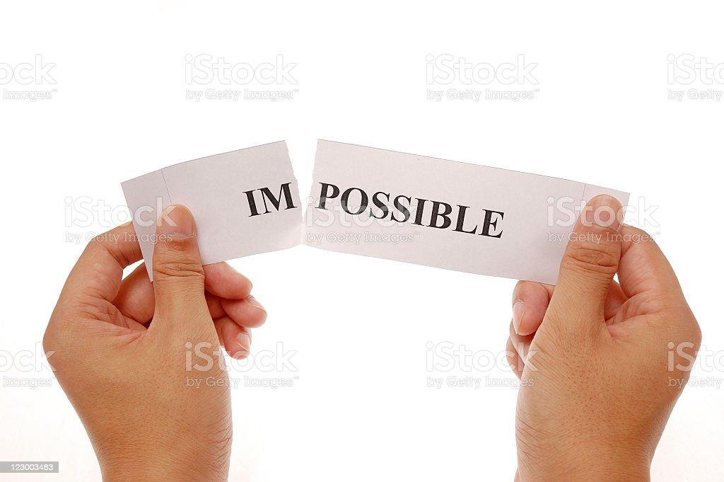 split word impossible stock photo