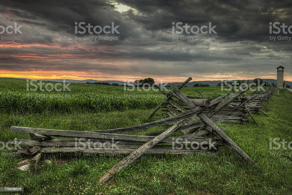 Split-Rail Fence and Observation Tower royalty-free stock photo