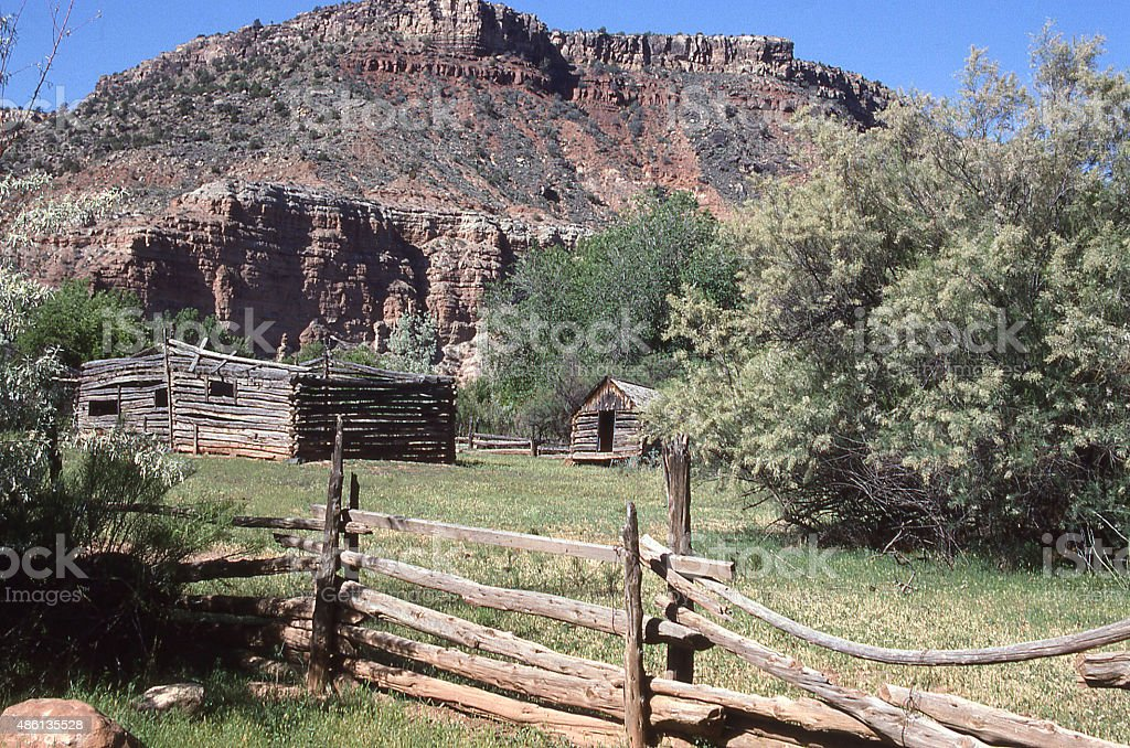 split-rail fence dilapidated old barn Grafton Ghost Town Utah stock photo