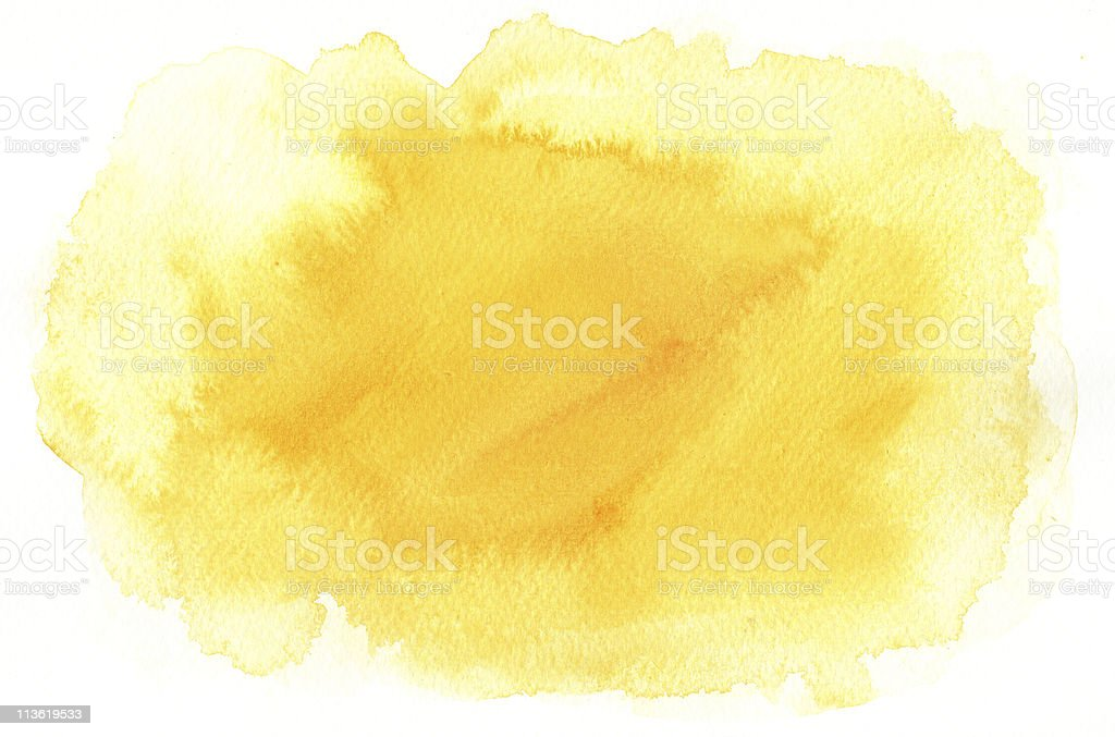 Splotchy yellow watercolor background stock photo