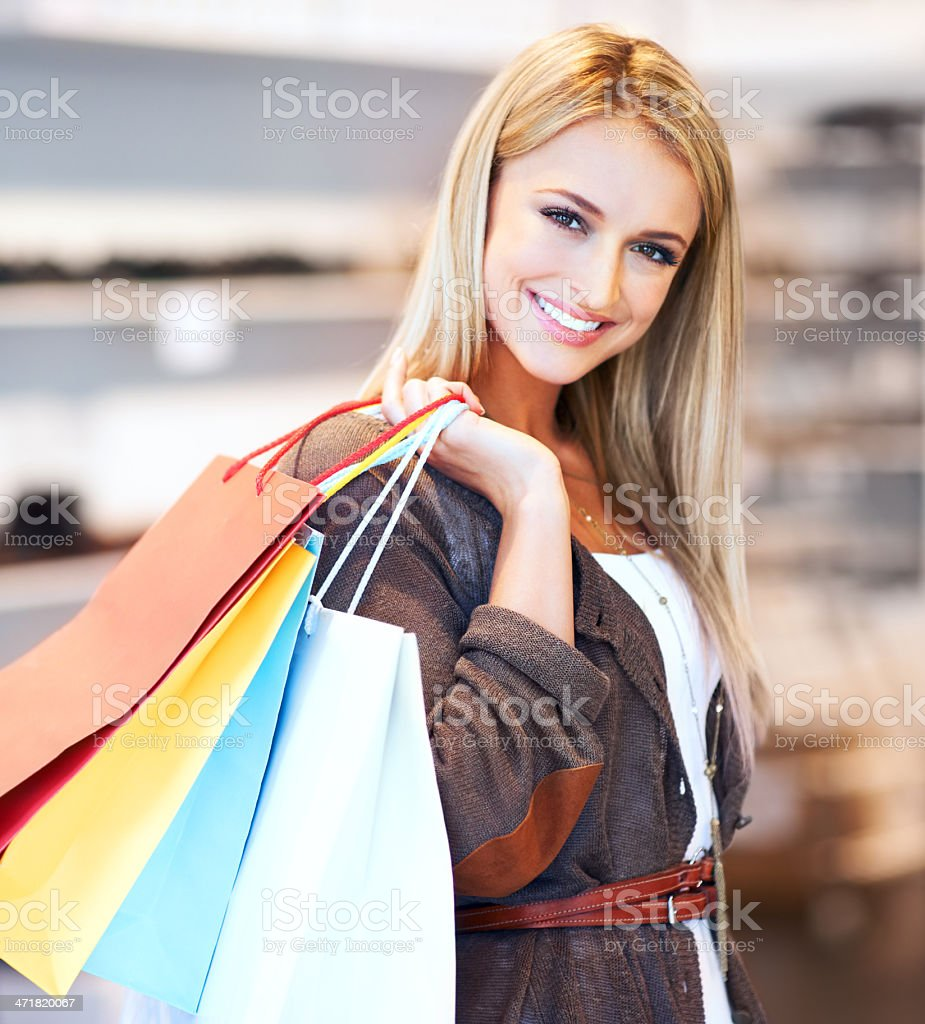 Spoiling herself royalty-free stock photo