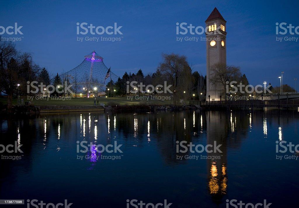 Spokane at night royalty-free stock photo