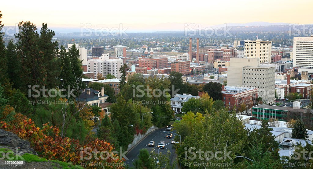 Spokane Evening Skyline In The Fall stock photo
