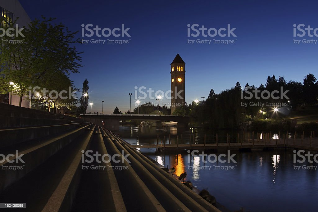 Spokane River and Clock Tower royalty-free stock photo