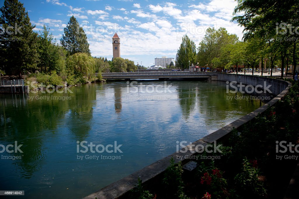 Spokane RiverFront walk stock photo
