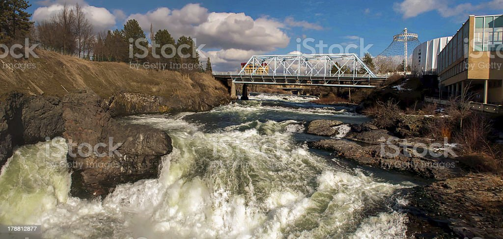 spokane washingon downtown streets and architecture stock photo
