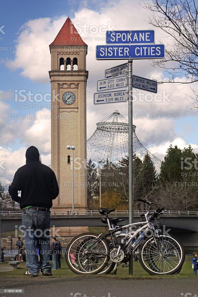 Spokane, Washington Clock Tower stock photo