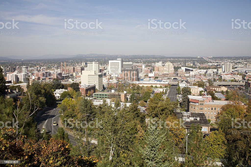 Spokane Washington Fall Afternoon Skyline stock photo