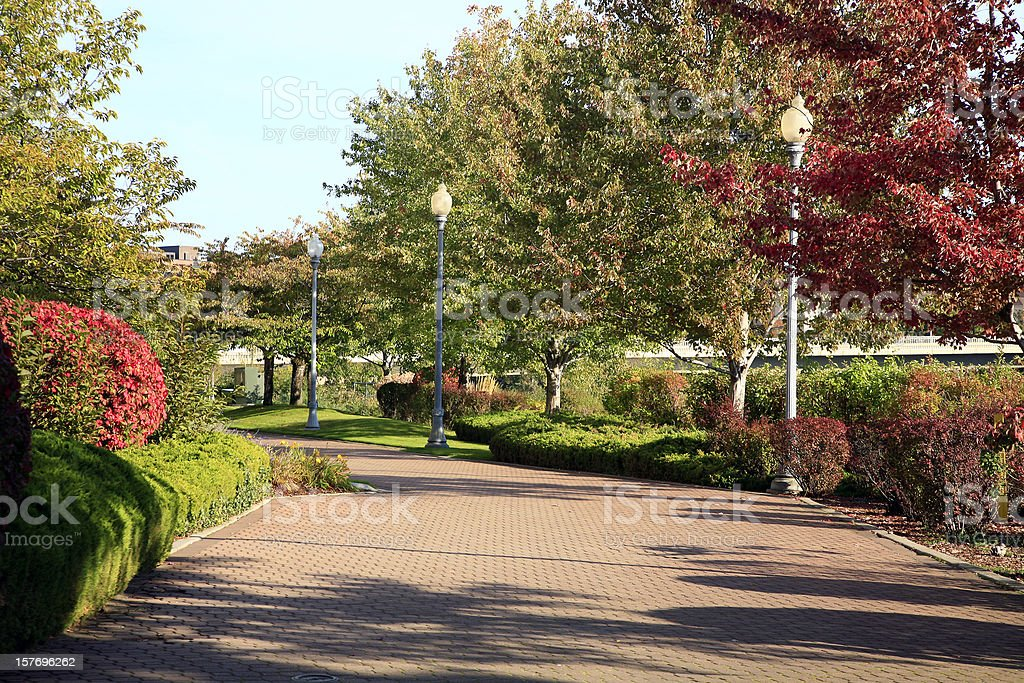 Spokane Washington River Walkway In Fall stock photo