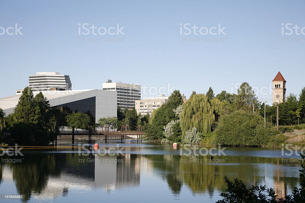 Spokane Washington Skyline From River Front Park stock photo