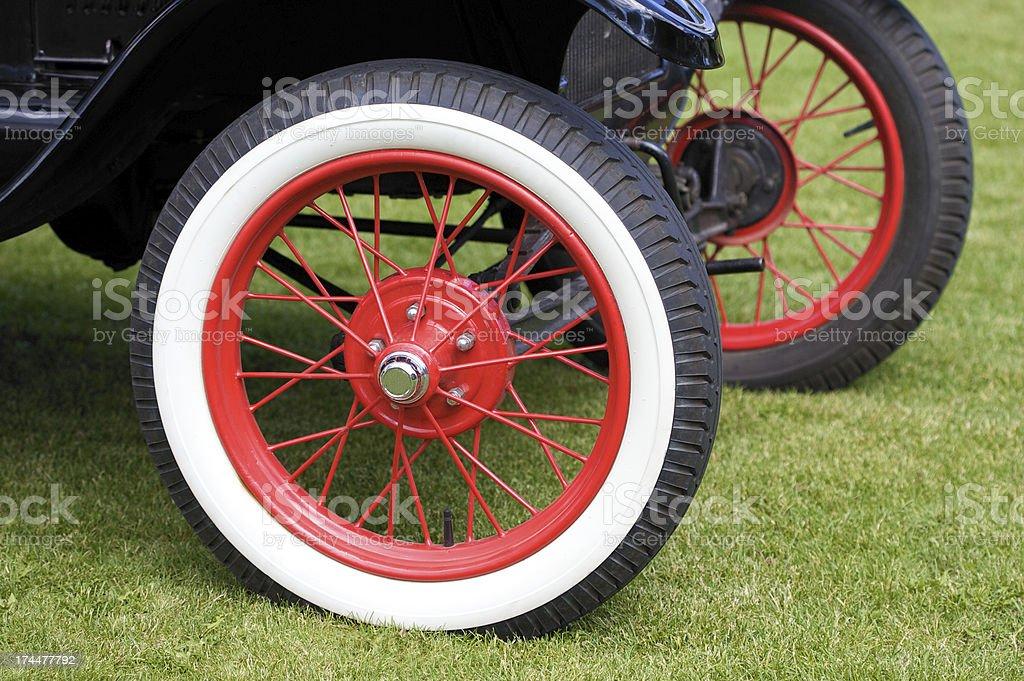 Spoke Wheels on Antique Car stock photo