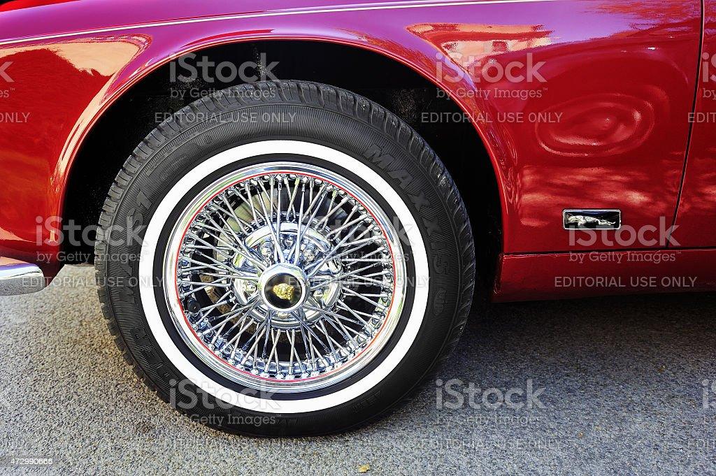 Spoked wheel of a Jaguar XJ stock photo