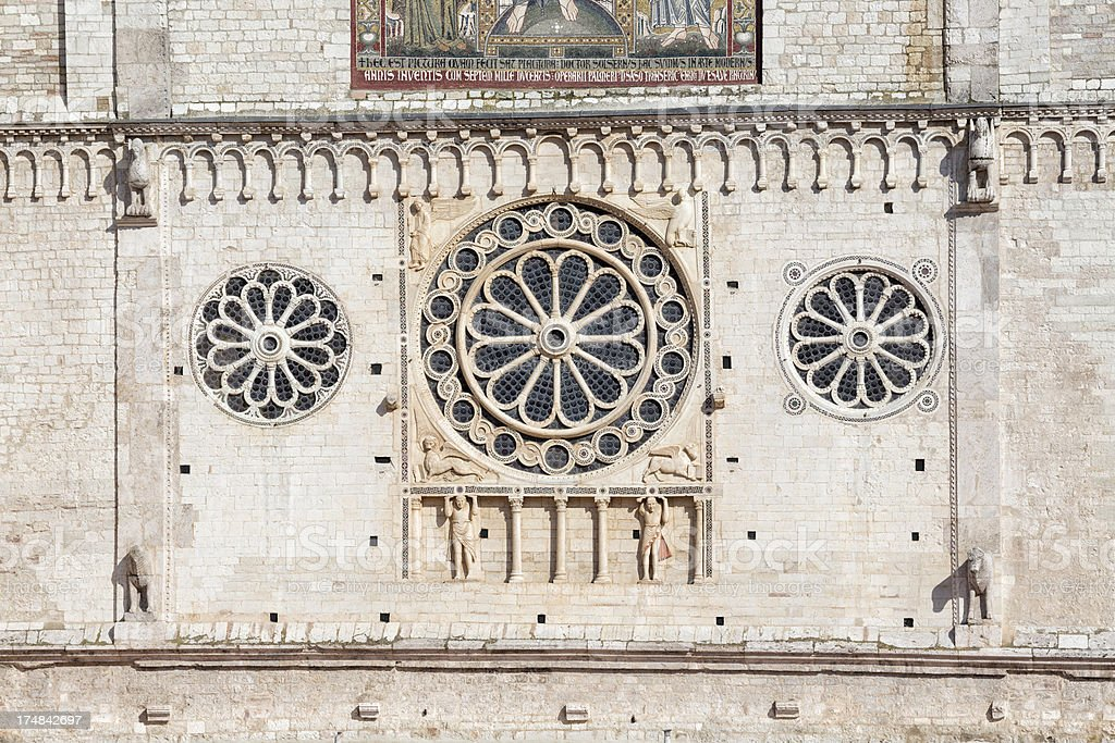 Spoleto Cathedral facade rose window, Umbria Italy royalty-free stock photo