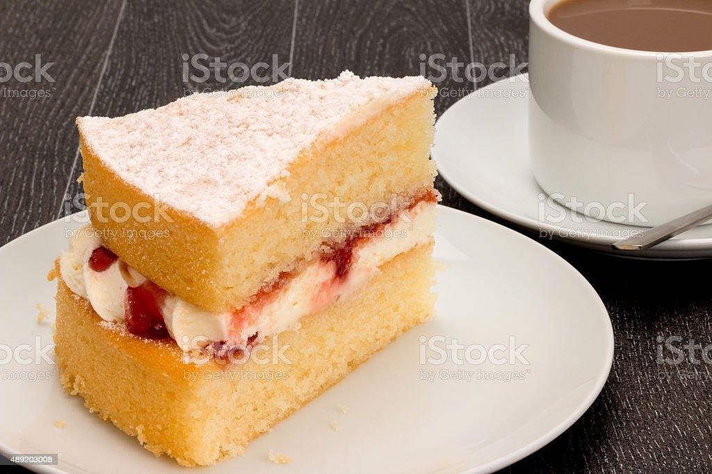 Sponge cake and coffee stock photo