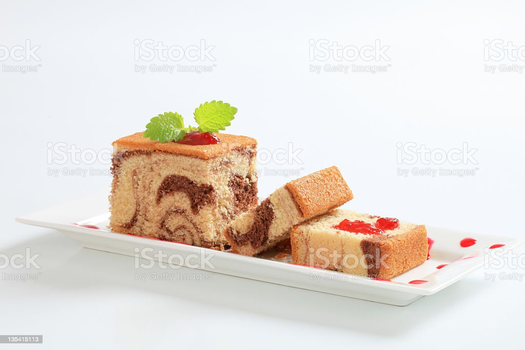 Sponge cake and jam stock photo