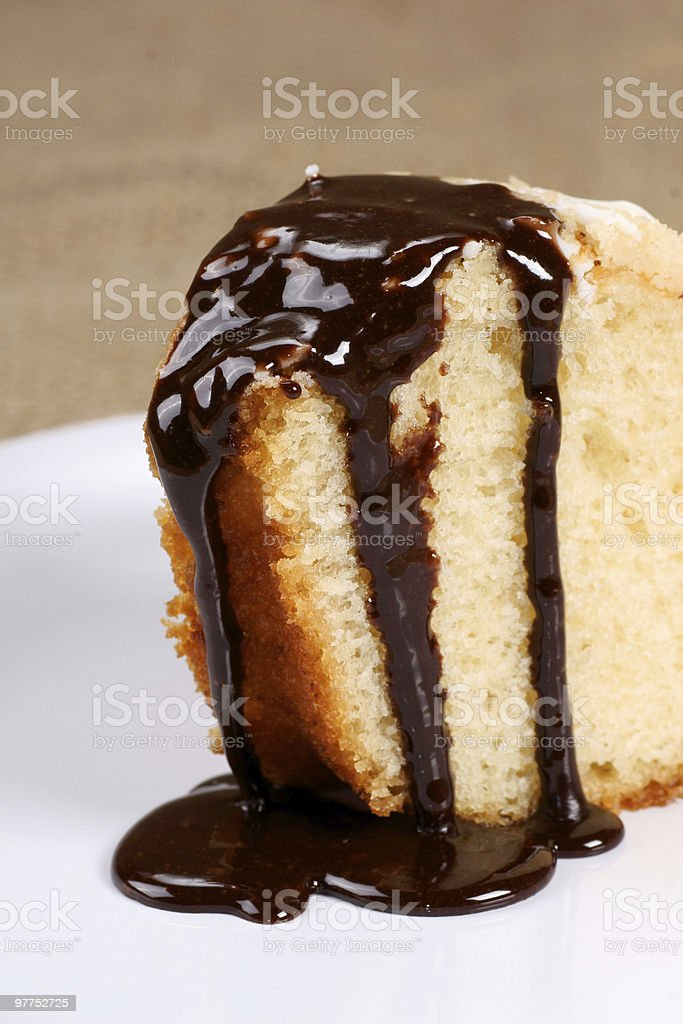 sponge cake with chocolate syrup royalty-free stock photo