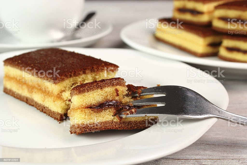 Sponge cake with cocoa filling royalty-free stock photo