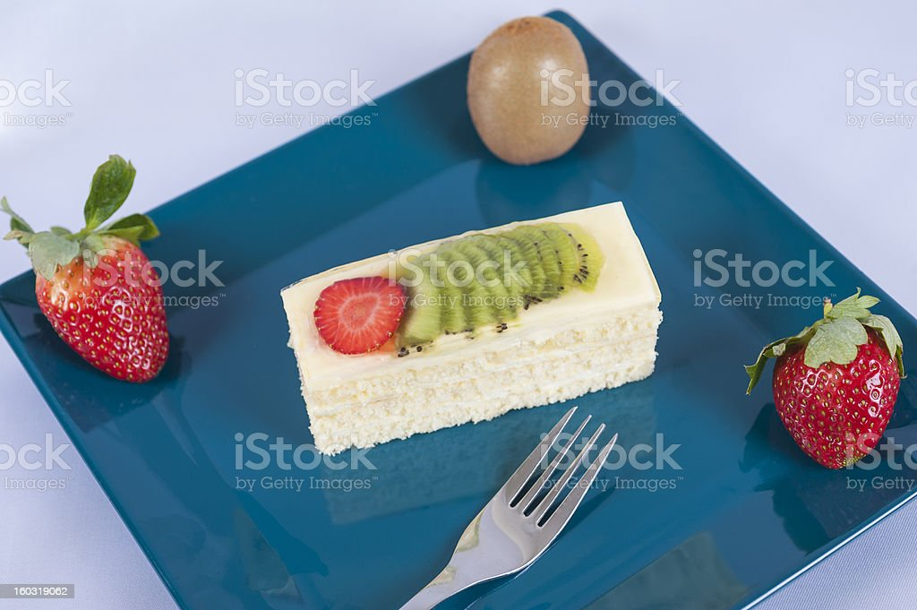 Sponge cake with fruits royalty-free stock photo