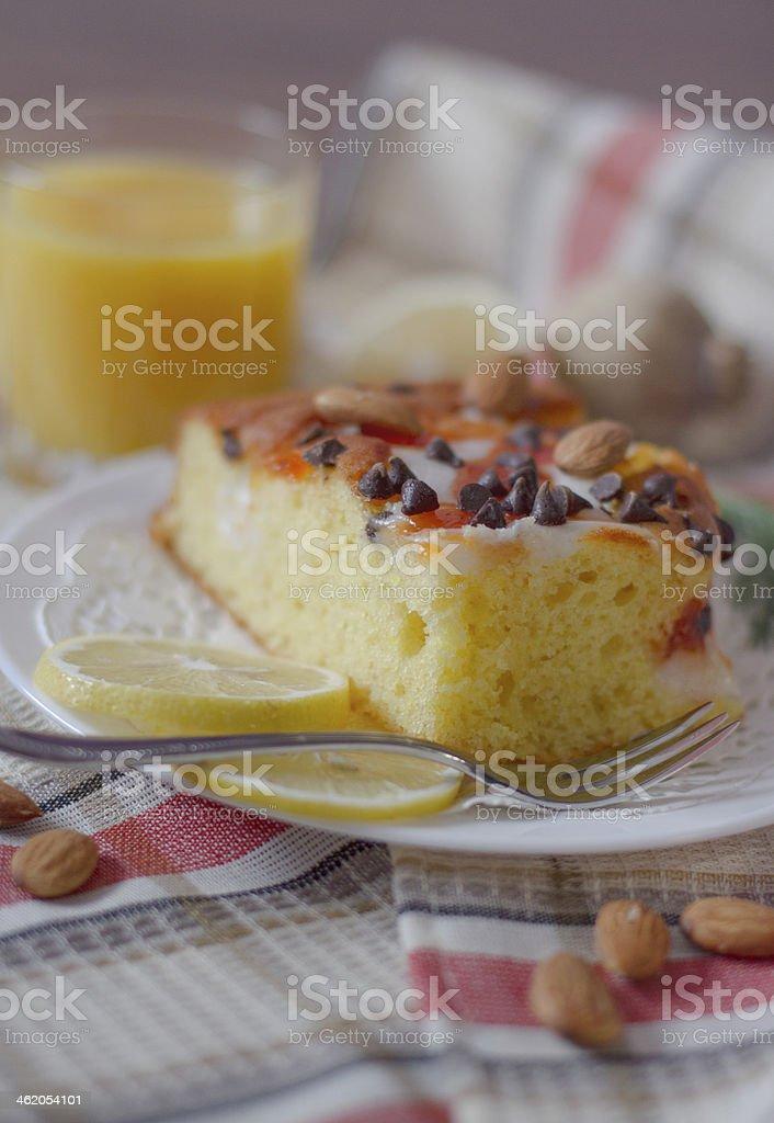 Sponge cake with lemon and orange marmalade stock photo