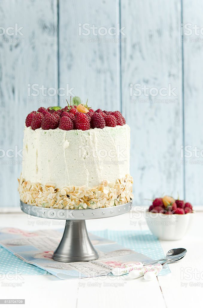 Sponge cake with raspberry stock photo