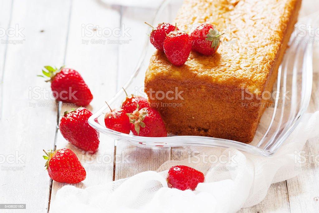 Sponge cake with strawberry stock photo