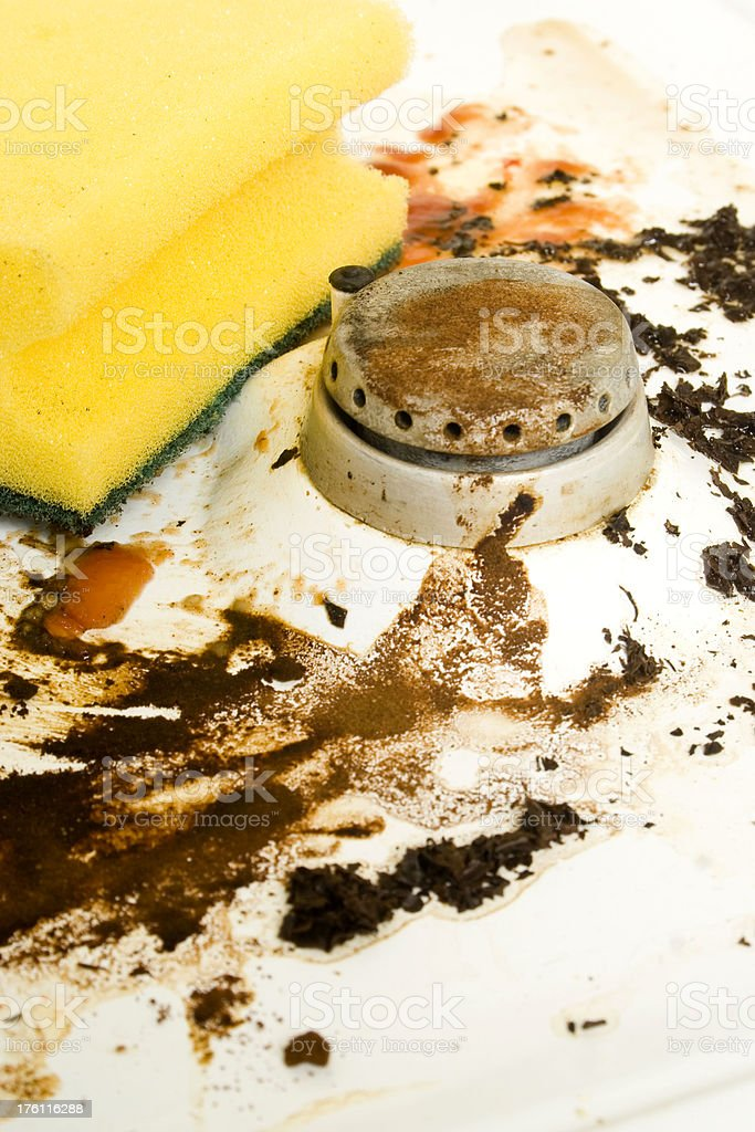 Sponge on dirty oven royalty-free stock photo