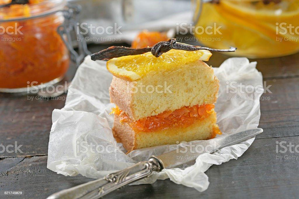 Sponge orange cake stock photo