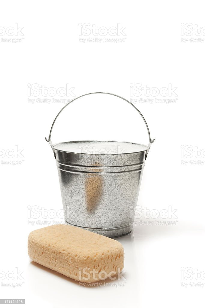 Sponge with bucket of water and soap royalty-free stock photo