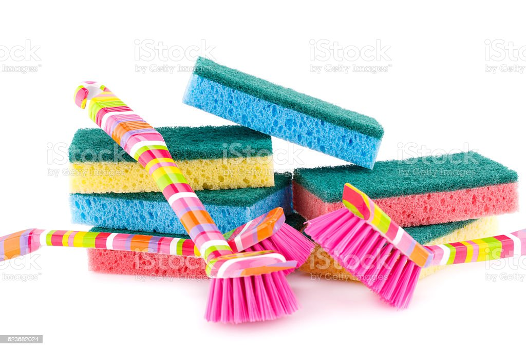 Sponges and brushes stock photo