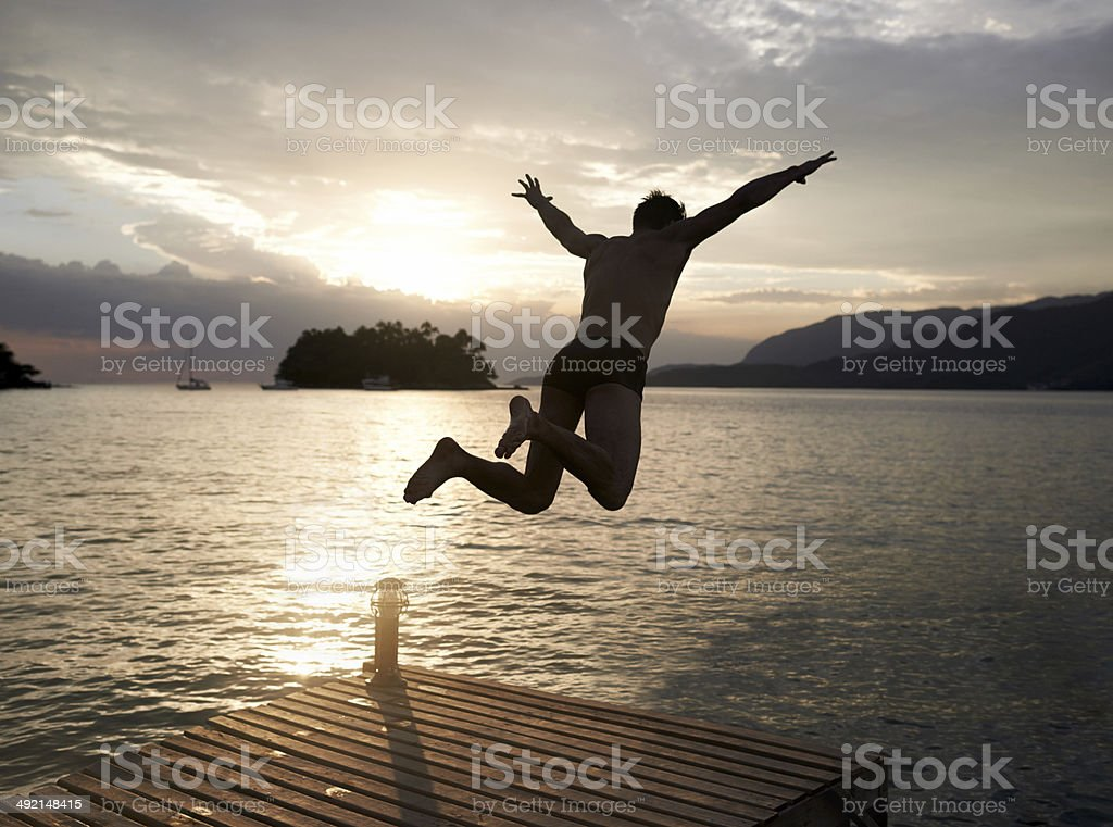 Spontaneity at sunset stock photo