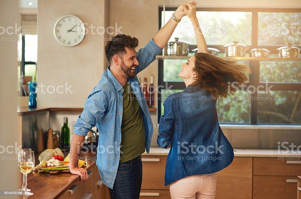 Spontaneous dancing and romancing stock photo