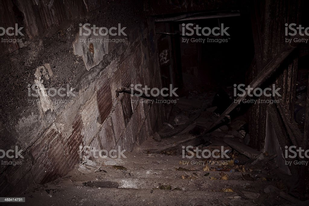 Spooky abandoned building stock photo
