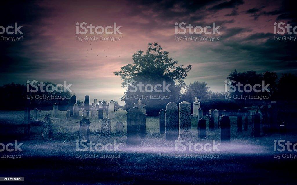 Spooky cemetery stock photo