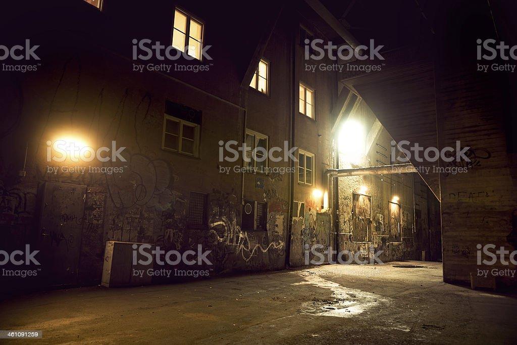 Spooky dark alley stock photo
