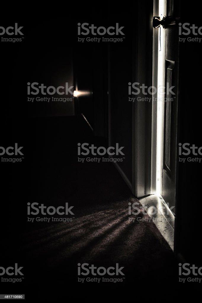 Spooky Dark Hallway Door Shadows stock photo
