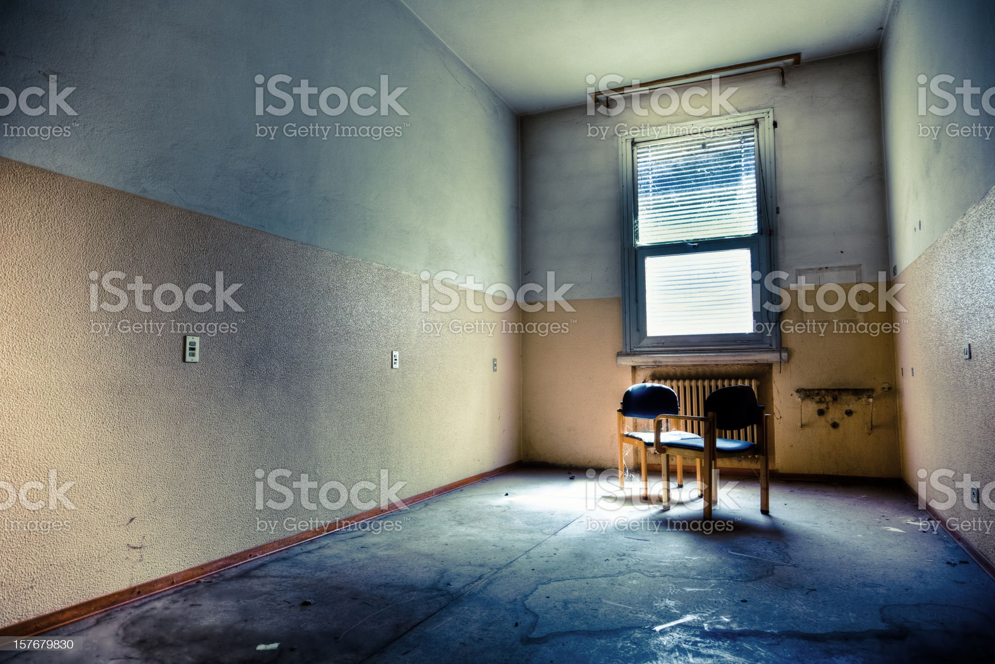 Spooky Empty Room With Two Chairs HDR royalty-free stock photo