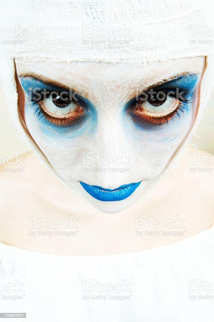 spooky female clown royalty-free stock photo
