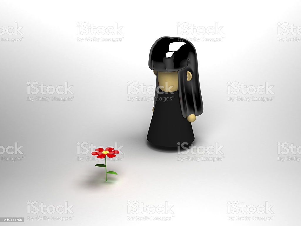 spooky girl with flower stock photo
