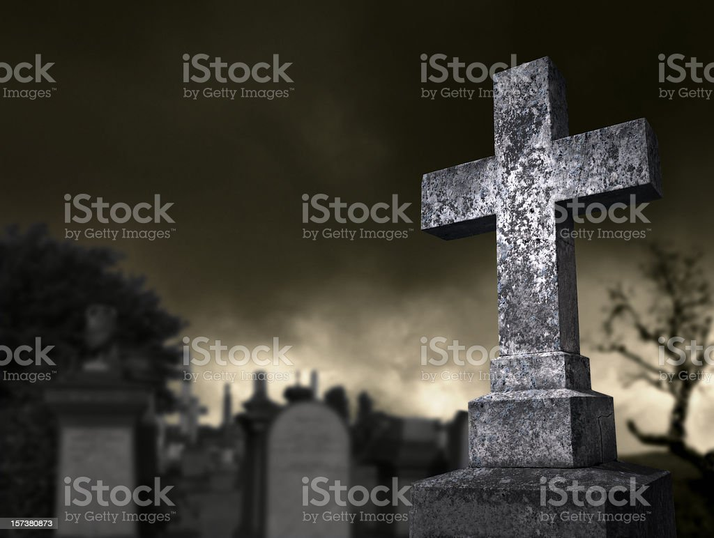 Spooky graveyard royalty-free stock photo