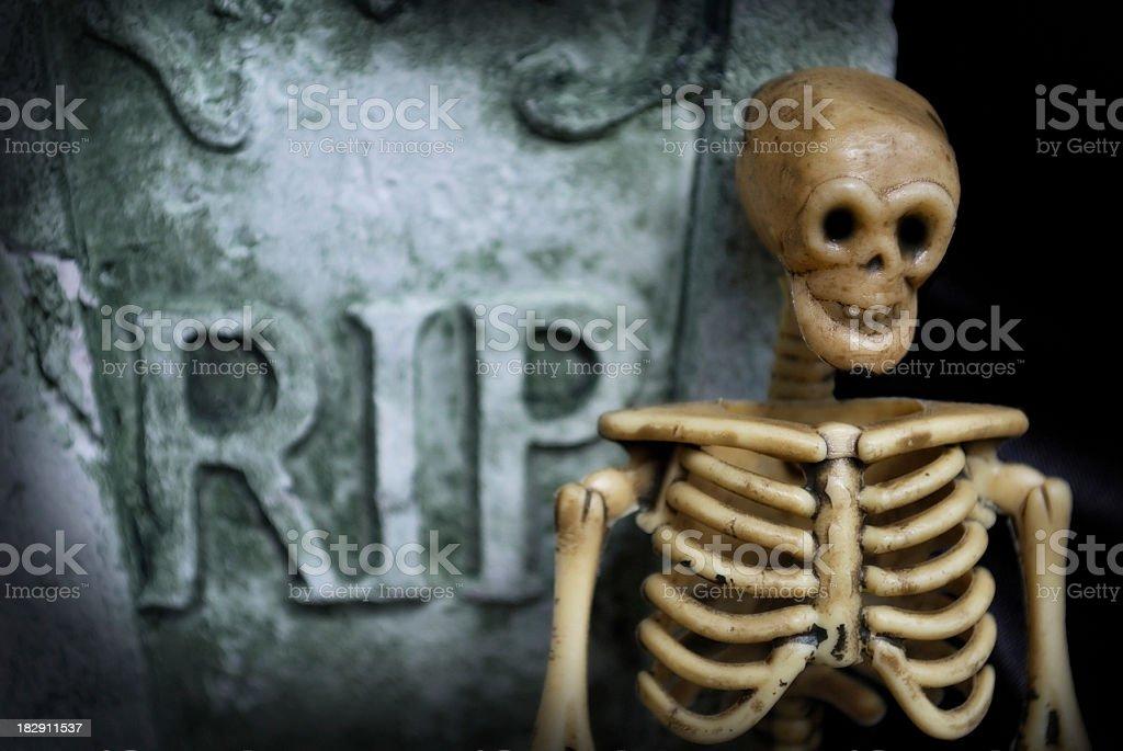 Spooky Halloween Skeleton with Tombstone Inscription R.I.P. stock photo