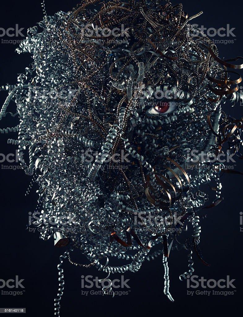 Spooky head made of scrap metal stock photo