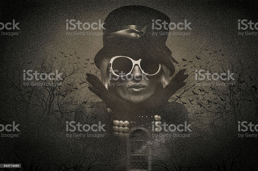 Spooky Multiple Exposure Image of a Beautiful Woman stock photo