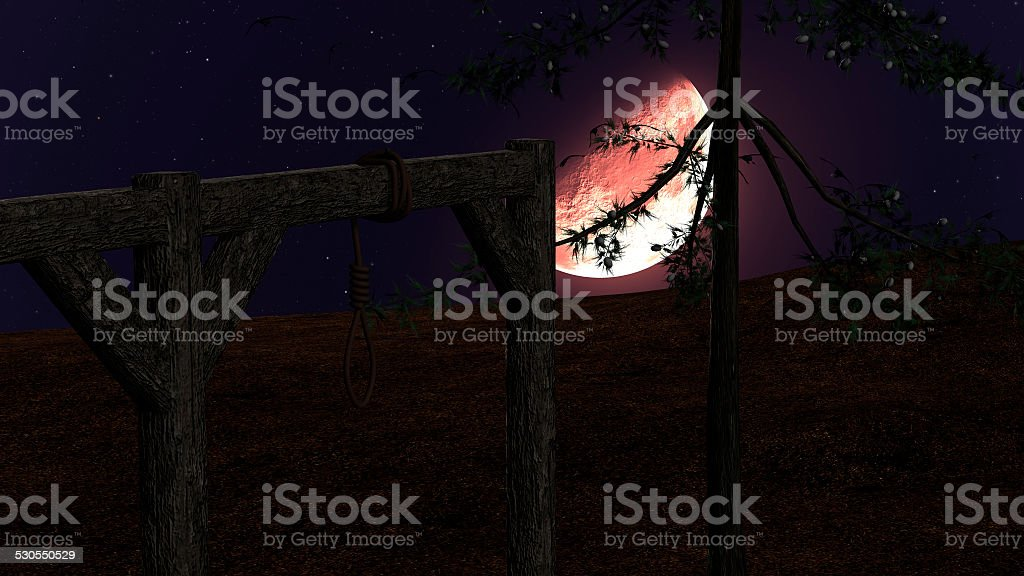 Spooky Night background with Gallow, Crows and Red Moon vector art illustration