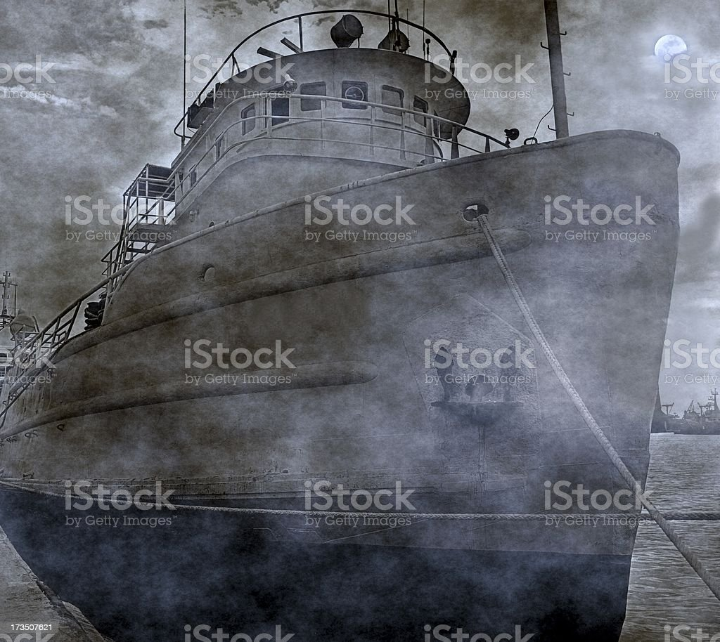 Spooky Old Fishing Boat stock photo