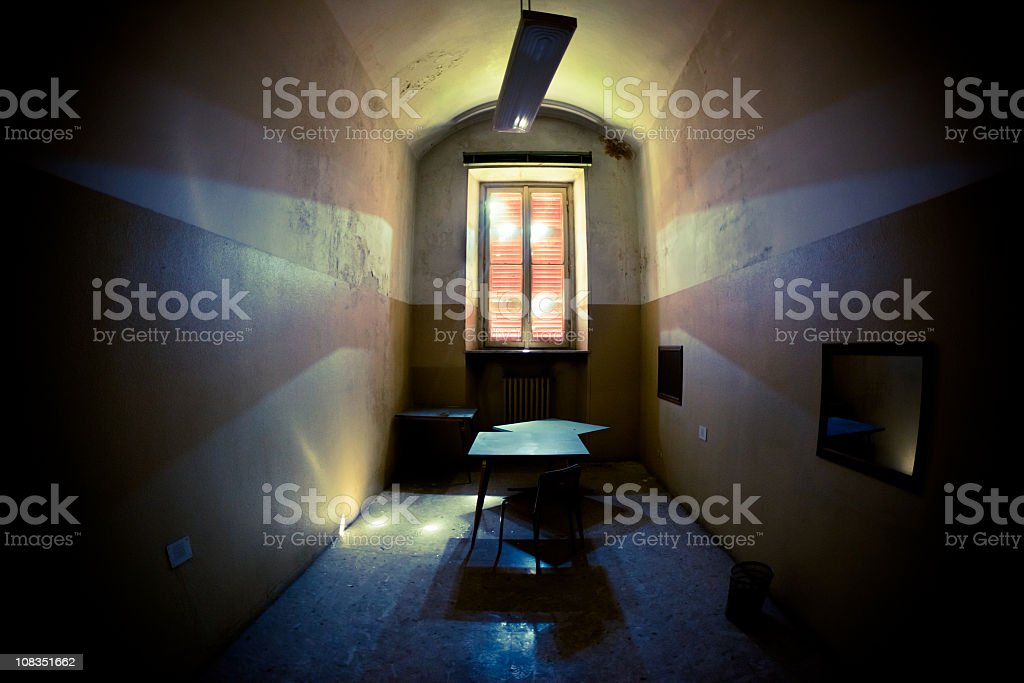 Spooky Room with Table & Reflections stock photo